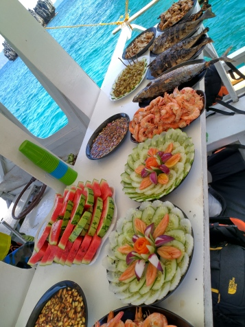 we had to eat on a crowded boat, but a very delicious lunch